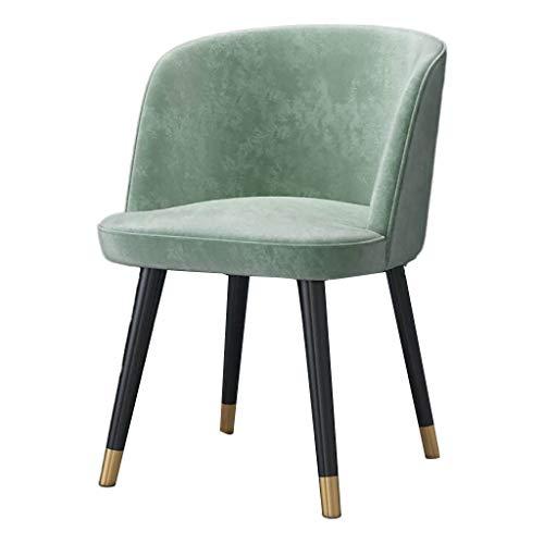 QTQHOME Modern Dining Chairs Sala De Estar Accent Arm Sillas Terciopelo Tapizado Silla Lateral Silla De Ocio Silla De Maquillaje Club Invitado con Patas De Metal Verde 43x46x46cm(17x18x18inch)