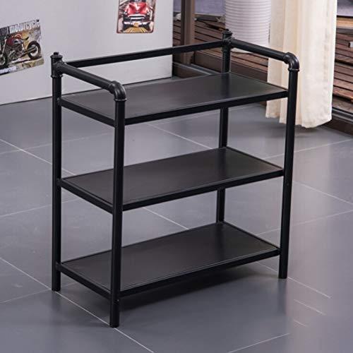 Kitchen furniture - Support de rangement au sol à trois niveaux Iron Retro pour étagère multifonctions WXP (Couleur : NOIR)