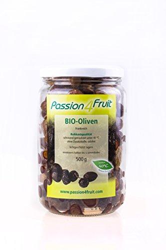 Bio Nyons-Oliven, 2x 500 g, unbehandelt, ohne Salz, ohne Konservierungsstoffe, Bio- & Rohkostqualität, Passion4Fruit
