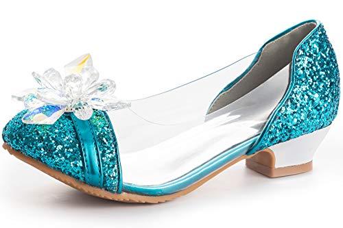 FUNNA Elsa Shoes for Toddler Girls Princess Flats Wedding Party 11 Little Kid, Blue