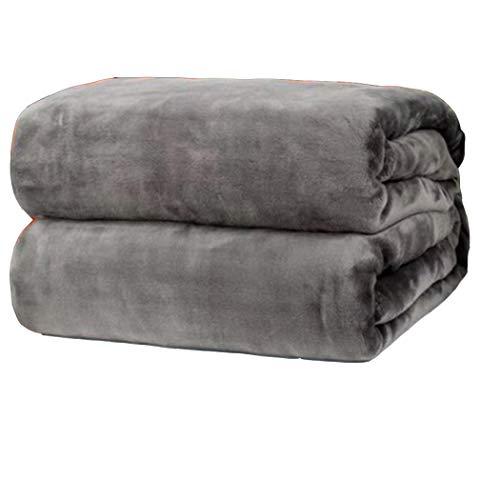 Coperta di lana di flanella super morbida, coperta multifunzionale in microfibra peluche sul letto, divano e panca (grigio scuro, 70 x 100 cm)