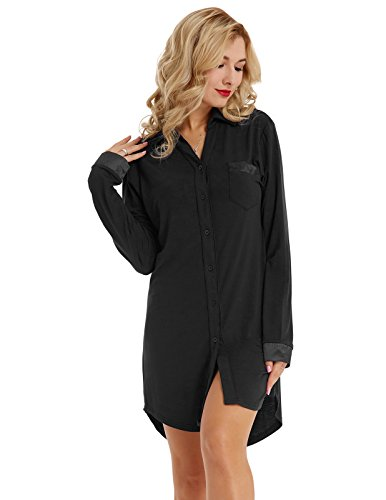 Women Long Sleeve Pajama Top Button Down Lapel Sleep Shirt Dress $17.39 (40% Off with code)