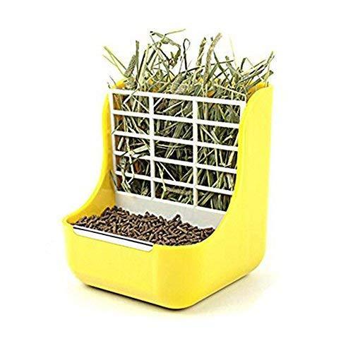 TeaQ - Comedero y marco de hierba 2 en 1 para conejos, chinchillas, cobayas, pequeños animales, antimordeduras, fijo