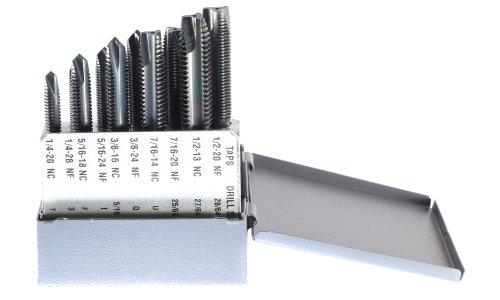 Drillco 2100N10 10 Piece High-Speed Steel Spiral Point Tap Set, Black Oxide Finish