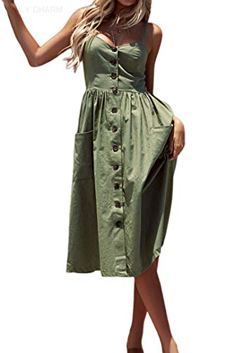 ONLY CHARM Femmes Cou V Robes - Été Casual Robes, Sexy sans Manches Dos Nu Boho Sling Robes, Plus Taille, Vert,XL
