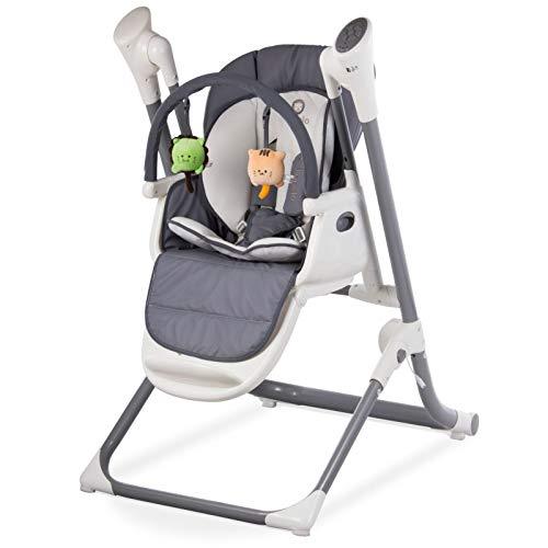 Lionelo Niles 2in1 Hochstuhl Baby und Baby Wippe, Mobile-App-Steuerung, verstellbare Rückenlehne und Tablett, bis 20 kg belastbar (Grau)