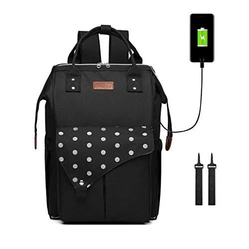 Kono Baby Wickelrucksack Wickeltasche mit USB-Lade Port 2 Kinderwagengurten Große Kapazität Babytasche Reisetasche Babyrucksack (Schwarz)