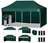 Eurmax 10'x20' Ez Pop-up Canopy Tent Commercial Instant Canopies with 4 Removable Zipper End Side Walls and Roller Bag, Bonus 6 SandBags (Forest Green)