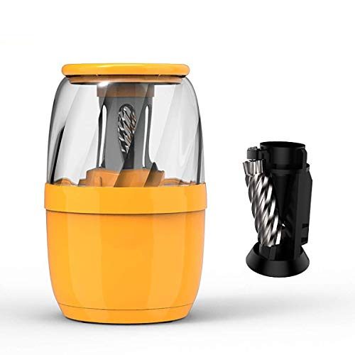BYBYC Automatic Electric Pencil Sharpener,Fast Sharpen.2/Colored Pencils(6-8Mm), USB Powered Operated in School Classroom/Office +Alloy Tool Holder,Orange
