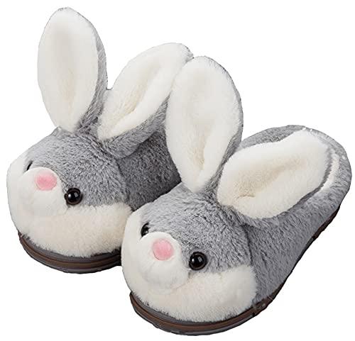 LANFIRE Groß Kinder und Erwachsene Baumwolle Hausschuhe Hase Hausschuhe Plüsch Hausschuhe Tier Hausschuhe Damen Schuhe Baumwollschuhe (Grey (slippers), 39/40, numeric_39)
