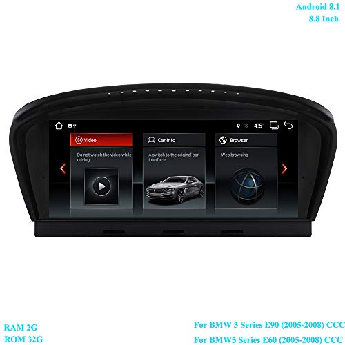 XISEDO Autoradio 8.8 Zoll Bildschirm Android 8.1 RAM 4-Core 2G ROM 32G Radio mit GPS Navigation Android Radio für BMW 3 Series E90 (2005-2008)/ BMW 5 Series E60 (2005-2008) Ursprüngliches CCC System