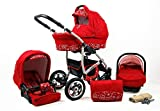 Cochecito de bebe 3 en 1 2 en 1 Trio Isofix silla de paseo New L-GO 2 by SaintBaby Red Flowers 2in1 sin Silla de coche
