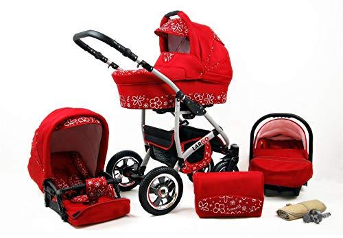 Kinderwagen 3in1 2in1 Set Isofix Buggy Babywanne Autositz New L-Go by SaintBaby Red Flowers 3in1 mit Babyschale