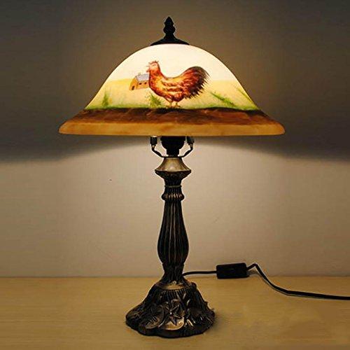 TUNBG Retro pintura lámpara de mesa con cristal sombra y gallo Design