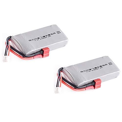 REFURBISHHOUSE RC Lipo BateríA 2S 7.4V 2700MAh 20C MAX 40C para Wltoys 12428 Feiyue 03 JJRC Q39 ActualizacióN de Piezas, 2 Piezas
