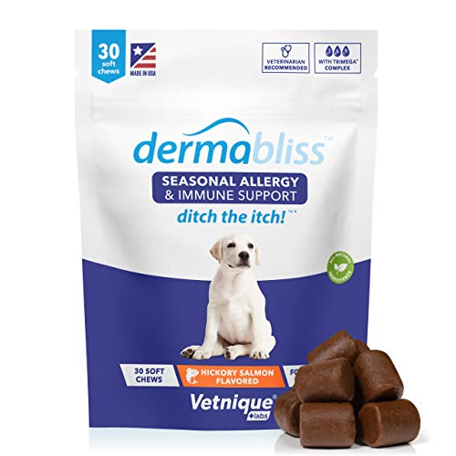 VETNIQUE LABS Dermabliss Seasonal Allergy & Immune Support for Dogs with Omega 3-6-9, Probiotics, Enzymes, Fish Oil and Colostrum Powder - Hickory Salmon Flavored Dog Treats (30 Count)