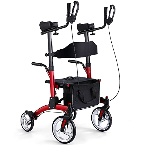 """Healconnex Stand up Rollator Walkers for Seniors- Bi-folding Rolling Walker with Seats and 10"""" Wheels,Padded Armrest and Backrest,Tall Rolling Mobility Aid with Basket,Rollator with Handle to Stand up"""