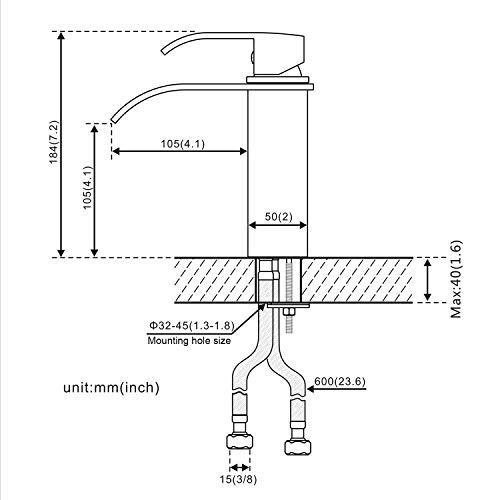 Auralum® Elegant Einhebel Mischbatterie Wasserhahn Armatur Waschtischarmatur Wasserfall Einhandmischer für Bad Badezimmer Waschbecken - 2