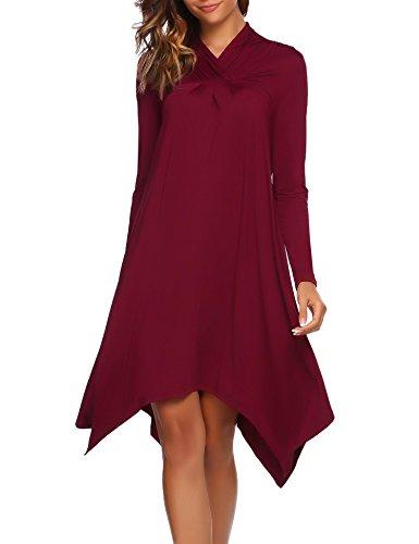 SE MIU Damenkleid, langärmlig, asymmetrisch, lockere Passform, T-Shirt, Tunika, Saum, Cocktailkleid, Abendkleid, Partykleid T-Shirt Kleid Medium weinrot