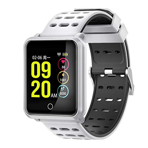 Smart Armband N88 Herzfrequenz Blutdruck WeChat Information Telefon Display IP68 wasserdichte Smartwatch (Weiß,)