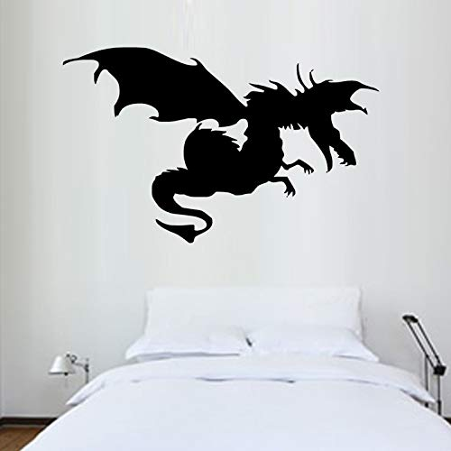 YuanMinglu Modernes Design Tier Drachen Film Flügel Wandaufkleber Abnehmbare Vinyl Wandtattoo Schlafzimmer Nacht Dekoration Schwarz 58 x 36 cm