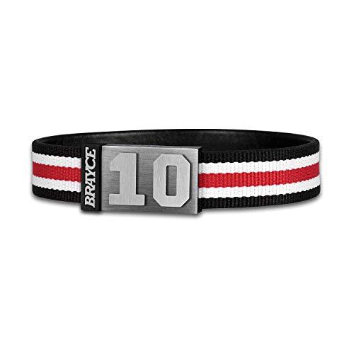 BRAYCE® Trikot am Handgelenk® mit Deiner Trikot Nummer 00-99 I Armband schwarz, weiß & rot I Sportarmband/Teamarmband personalisierbar & handgemacht