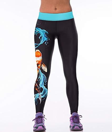 YJKGPZQLZ Yoga Hosen Leggings Printed Fisch Und Meer Stil 3D Print Frauen Leggings Hohe Taille Legging Gedruckt Frauen Hosen Dünne Fitness...