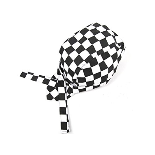 TINKSKY Fashion Checkered Chefs Hat Kitchen Catering Skull Cap Ribbon Cap Turban (Black+White)
