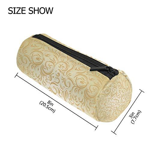TIZORAX Gouden Romeinse Stijl Bloemen Potlood Case Pen Rits Tas Munt Organizer Make-up Kostmetische Tas voor Vrouwen Tiener Meisjes Jongens Kids