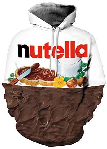 Leslady Unisex 3D Druck Hoodie Kapuzenpullover Langarm Oversize Sweatshirt Loose Fit Kapuzenjacke mit Großer Tasche (Nutella, S/M)
