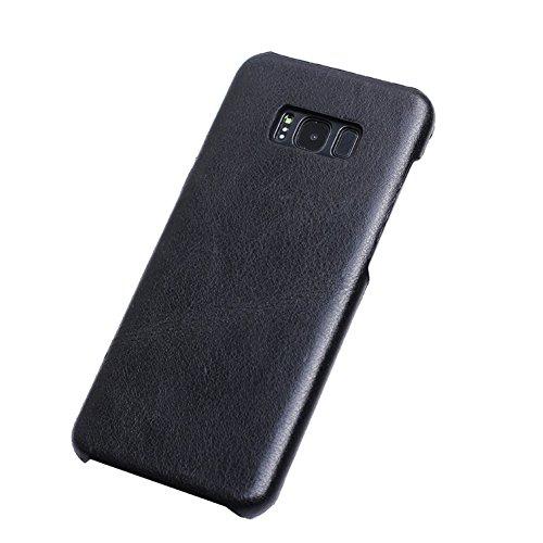 DWaybox Galaxy S8 Custodia Retro Style Matte Texture Luxury Cuoio Genuino Hard Custodia Cover per Samsung Galaxy S8 2017 SM-G950 / Samsung Dream 5.7 inch (Black)