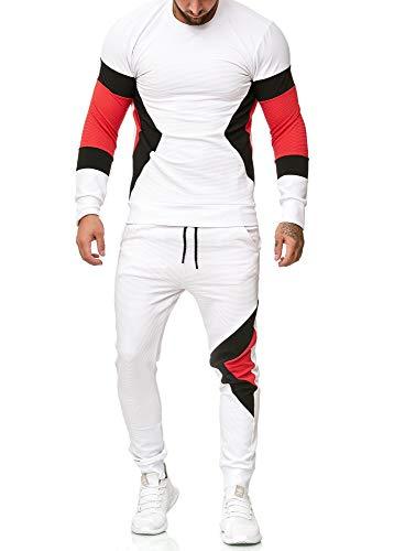 OneRedox | Herren Trainingsanzug | Jogginganzug | Sportanzug | Jogging Anzug | Hoodie-Sporthose | Jogging-Anzug | Trainings-Anzug | Jogging-Hose | Modell 1215 Weiss S