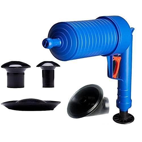 Émbolo de inodoro, kit de herramientas de émbolo neumático, vaciamiento de la pistola de perforación dominante, impactador de aire de escape mejorado, nueva bomba de alta presión en 2021, para el agen