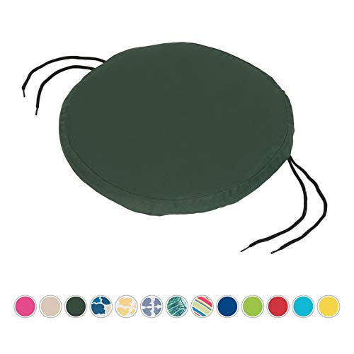Gardenista Garden Round Bistro Chair Seat Pad | Cushion Seating Patio Furniture Outdoor | Secure Tie Strings for None Slip | Water Resistant | Comfortable Durable and Lightweight (Green)