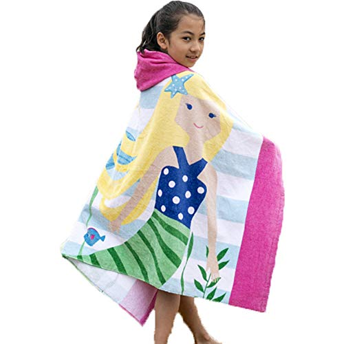Poncho de baño para niños, 100 % algodón, toalla de baño para niños y niñas, absorbente, secado rápido, toalla con capucha suave para niños y niñas, 2 – 8 años (niñas)