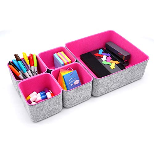 Welaxy Desk organizer Storage Bins Set Office Drawer Organizers for Home Closet Cabinet Makeup Cosmetic Socks Soft organizing boxes Pack of 5 Hot Pink