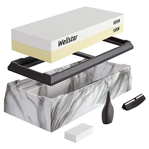 WELLSTAR Schleifstein Abziehstein Wetzstein, 2-in-1 Doppelseitiger Messerschärfer, Körnung 1000/6000 mit rutschfestem Silikonhalte für Küche Messer,Weiß + Gelb