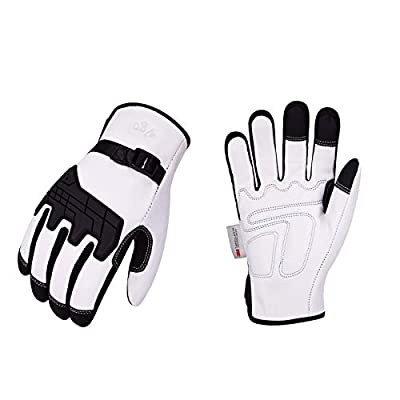 Vgo 2-Pairs 32? or above 3M Thinsulate C40 Lined Winter Premium Goat Leather Waterproof Work Gloves (Size L, White, GA1012FW)