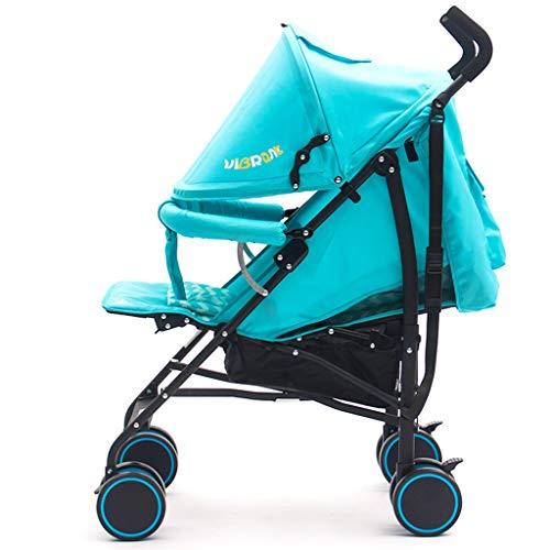 Kinderwagen, kan opvouwen opvouwen en lichte kinderwagen, kan het vliegtuig nemen, One Step vouwen, geschikt voor 0-36 maanden baby blauw