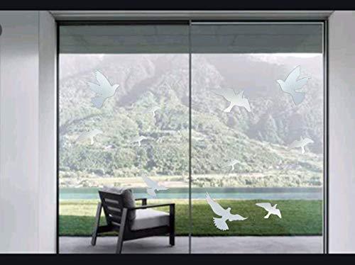 Muttfy Anti-Kollisions-Fensteralarm Vogelaufkleber gegen Vogelschläge auf Fenster Glastür (Set von 12 Silhouetten transparent)