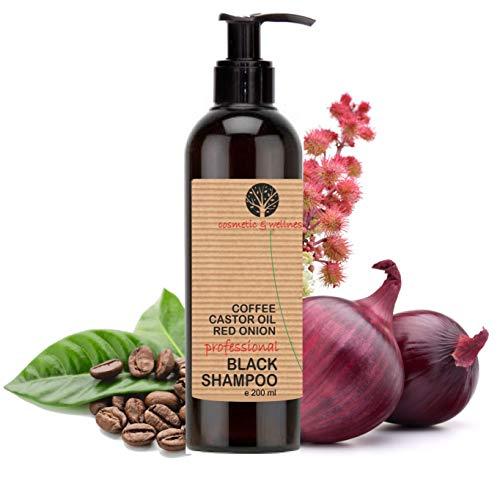 Schwarzes Koffein-Shampoo, Rizinusöl und roter Zwiebel Extrakt Anti Fall Nachwachsen der Haare Anti-Lösung regt das Haarwachstum (200 ml)
