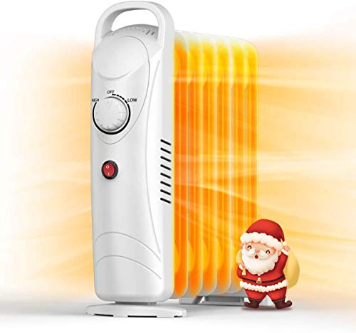 Electric Oil Heater - 700W Mini Oil Space Heater for Office, Oil-filled Radiator Heater with Adjustable Thermostat, Overheat Protection, Energy...
