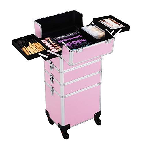 Yaheetech Pilotenkoffer Friseurkoffer Beautycase Schminkkoffer Kosmetikkoffer Trolley aus Aluminium 4 in 1 Pink