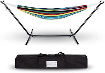 Project One Double Cotton Hammock with Space Saving Steel Stand