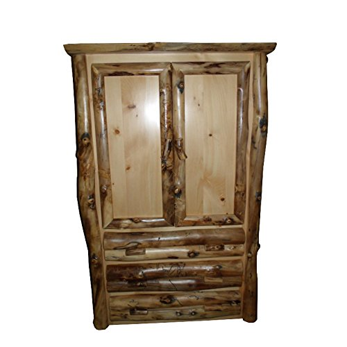Discover Bargain Furniture Barn USA Rustic Aspen Log ARMOIRE2 Doors, 3 Drawers