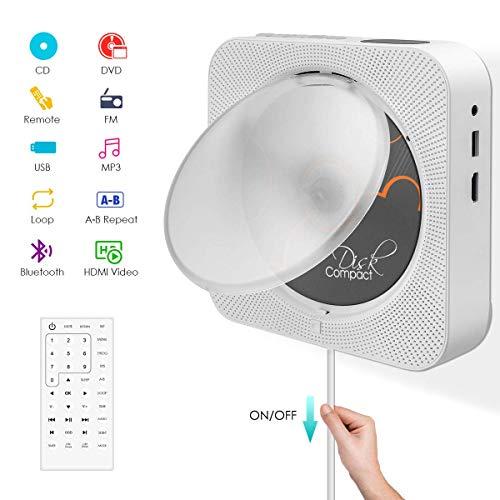 Tragbarer DVD- / CD-Player mit Bluetooth, integrierter HiFi-Lautsprecher zur Wandmontage, Home-Audio-Boombox mit Fernbedienung, HDMI für TV-Anschluss, FM-Radio, USB-Player für Kinder