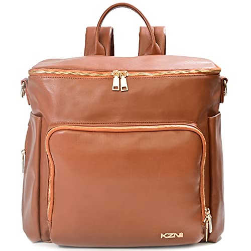 KZNI Leather Diaper Bag Backpack, Diaper Travel Carry Bag, Nappy Baby Bag for Grils, Mom, Diaper Bag with Stroller Hanger|Thermal Pockets|Adjustable Shoulder Straps|Water Proof| Large(Brown)