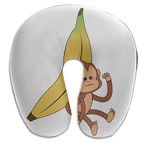 Kleine U Kissen AFFE halten gelbe Bananenfrucht U-förmige Memory Foam Nackenkissen Schutz Kopf Kopf Kissen Unterstützung Cervical Reisekissen Erwachsene Reisekissen