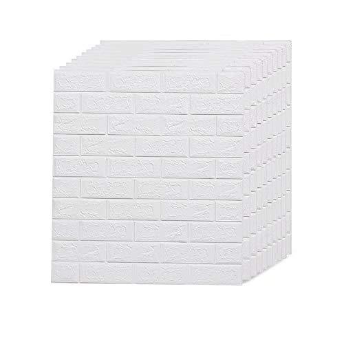 AMERLIFE 116.26 Sq.Ft 3D Wallpaper Self-Adhesive Foam Brick Wall Panels for Interior Wall Decor, White Brick Wallpaper, Pack of 20