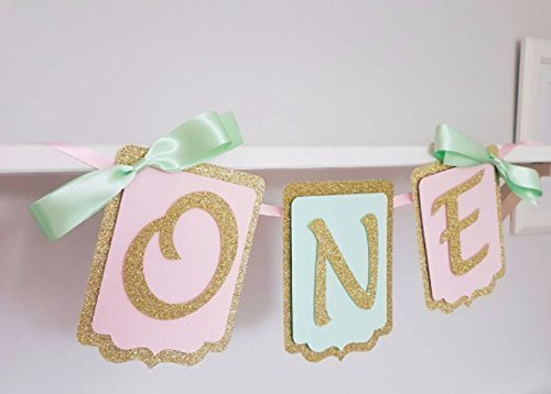 Highchair birthday banner. First Birthday Garland. Baby party decorations.High chair banner decorations Pink, mint and gold. Smash cake. First birthday banner. Boy and girl.